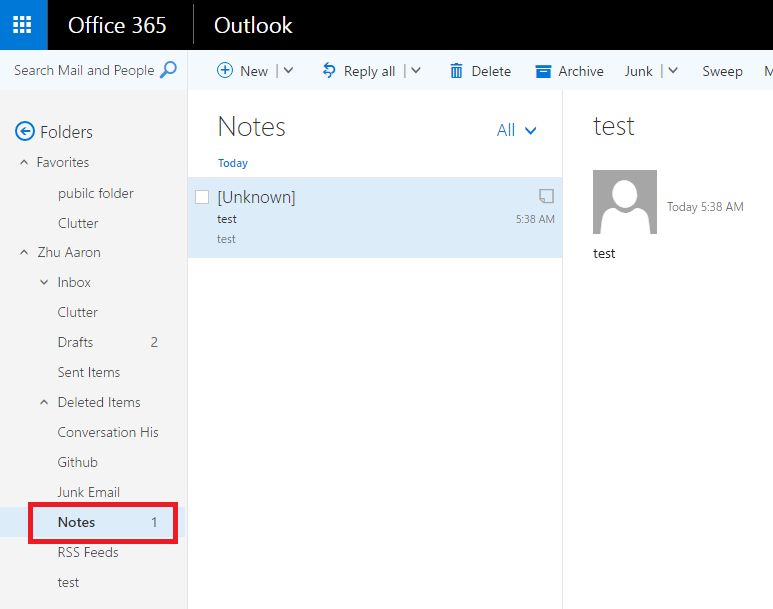 Hotmail Outlook notes