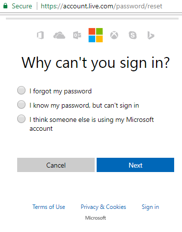 Reset Hotmail Password