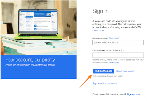 Hotmail sign in via single use code